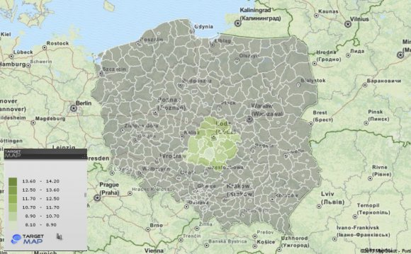 1 population Poland Map